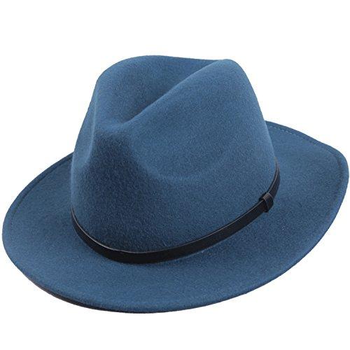 Sedancasesa Unisex Wool Felt Hat Wide Brim Fedora Trilby Derby Hat With (Flat Brim Wool Felt Hat)