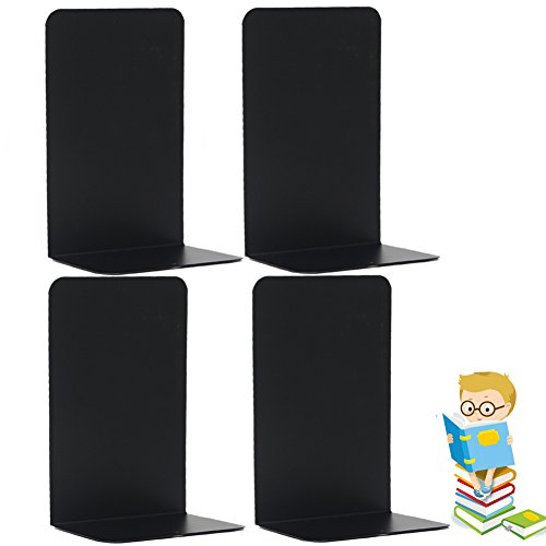 Economy Bookends Universal Black Heavy for Office,8.25 Inch, 4pcs(2 pairs) by Sun (Black Bookend)