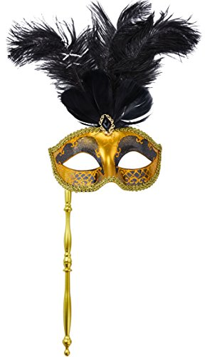 [Coxeer Masquerade Mask on Stick Half Face Mask with Feathers Gold Venetian Mask] (Feather Mask With Stick)