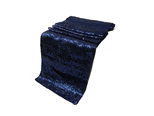 ELINA'S PACK OF 1 Wedding 13 x 108 inch Sequin Table Runner Wedding Banquet Decoration (1, NAVY - Mission Style Server