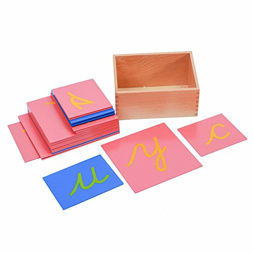 (Baby Toy Montessori Language Lower Case Sandpaper Letters Cursive Tracing Board Early Preschool Birthday Christmas)