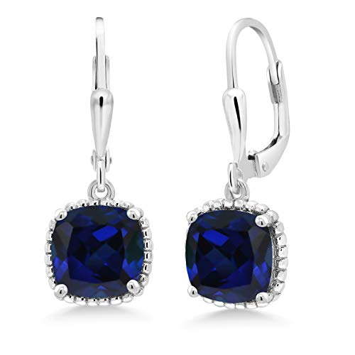 Gem Stone King 5.00 Ct Cushion Blue Simulated Sapphire 925 Sterling Silver Dangling Earrings