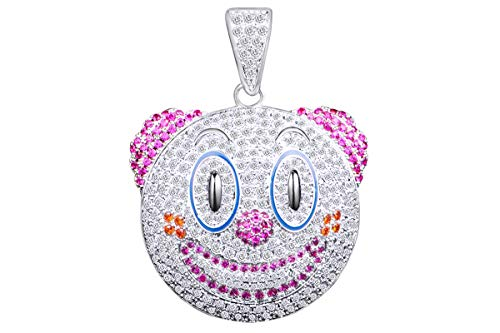 3 Cttw White Natural Diamond & Simulated Birthstones Hip Hop Jewelry Joker Face Pendant 14K Solid White Gold ()