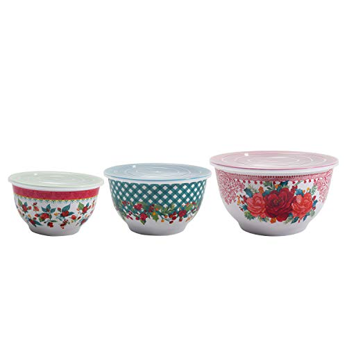 The Pioneer Woman Melamine Mixing Bowl Sets with Lids (Cheerful Rose)