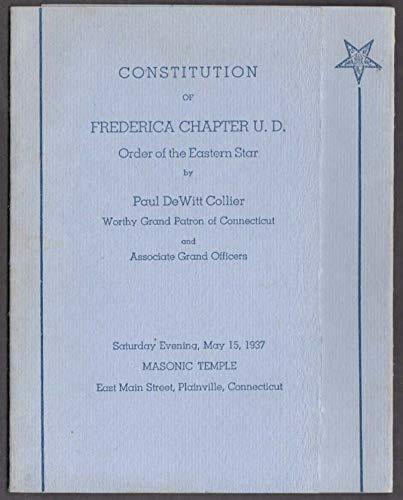 Order Eastern Star Frederica Chapter Constitution folder Plainville CT 1937
