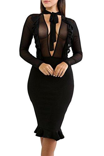 Women Sexy Black See-through Sheer Mesh Insert Ruffle Trim Bodycon Midi Party Evening Club (Insert Ruffle Dress)
