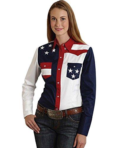 Roper Women's Stars And Stripes Colorblock Western Shirt Patriotic Medium (Roper Stars)