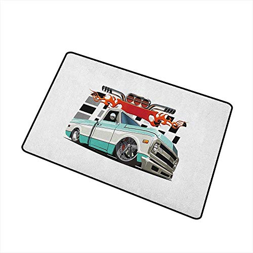 (Wang Hai Chuan Truck Universal Door mat Lowrider Pickup with Racing Flag Pattern Background Speeding on The Streets Modified Door mat Floor Decoration W15.7 x L23.6 Inch Multicolor)