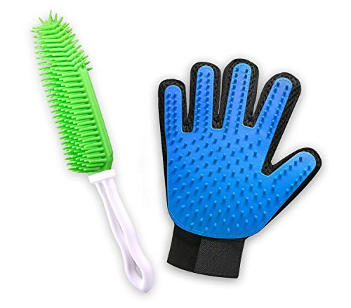 VANHO Pet Grooming Tools-Gentle Deshedding Brush Glove&Pet Hair Remover Brush-Pet Massage Mitt&Multi-Purpose Rubber Brush-Great for Dog,Cat,Furniture and Carpet