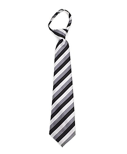 Umo Lorenzo Boys Black & Gray Striped Pattern Zipper Tie