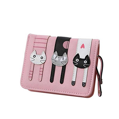 Cyber Monday Deals Week-Valentoria Birthday Gifts for Women's Mini Faux Leather Bifold 3 Cat Design Clutch Wallet(Pink)