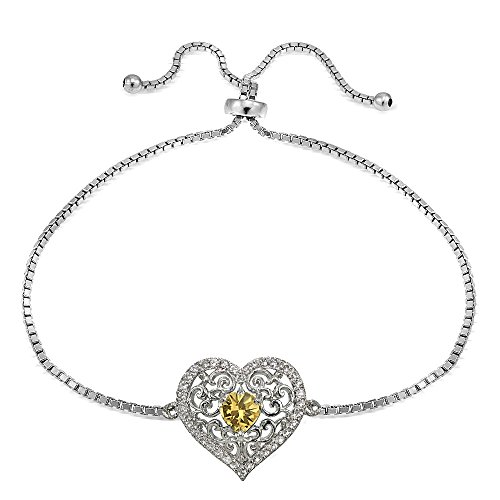 Sterling Silver Genuine Citrine and White Topaz Filigree Heart Adjustable Bracelet