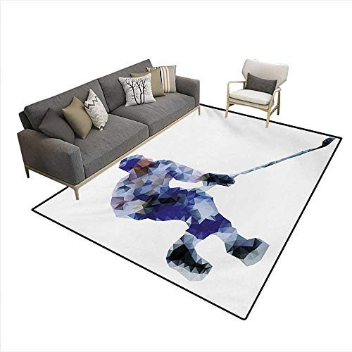 Carpet,Hockey Player in Fragmented Triangle Formes Winter Sports Hobby Design,Area Silky Smooth Rugs,Blue Purplegrey Black,6'6