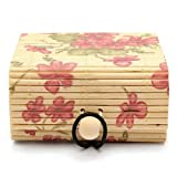 lightclub Rustic Personalized Vintage Retro Country Style Ring Necklace Earrings Bamboo Wooden Case Jewelry Storage Boxes Holder Gift for Earring,Rings.Necklaces,Bracelet,Anklet Large Floral