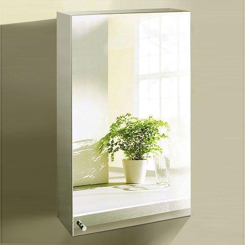 600 x 400 Stainless Steel Bathroom Mirror Cabinet Modern Single Door Storage Unit MC120 iBathUK