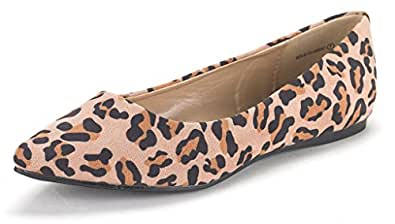 DREAM PAIRS SOLE CLASSIC Women's Casual Pointed Toe Ballet Comfort Soft Slip On Flats Shoes LEOPARD SIZE 6
