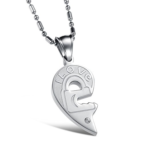 Twister Costume Couples (Sinkfish NL80067 Titanium Steel Necklace ,Heart-Shaped & Fashion Couples Necklace,Silver)