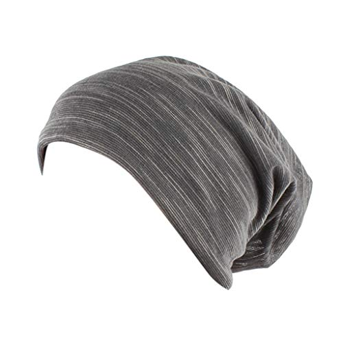 (Fashion Solid Silk Casual Scarf Head Cap Cotton Muslim Hat Fold Cap Gray)