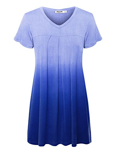WT1085 Womens Dip Dye V Neck Short Sleeve Pleats Tunic Top XL ROYAL_BRITE