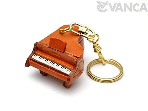 - Piano Music/Instrument 3D Leather Keychain(L) VANCA CRAFT-Collectible Keyring Charm Pendant Made in Japan