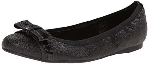 Stuart Weitzman Girls Fiona Glitter Bow Flats-Shoes,Black,5