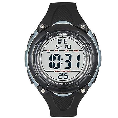 SamMoSon Relojes Hombre Deportivos Inteligentes Lotus Digitales Elegante,Hombres Led Fecha Digital Deporte Goma Reloj Alarma Impermeable Negro: Amazon.es: ...