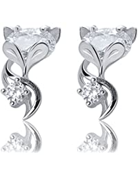925 Sterling Silver Cute Fox Animal Pendant Necklace & Earrings Set