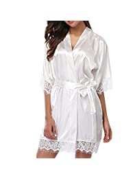 Lavany Women Lingerie Sexy Lace Satin Long Sleeve Robe Brief Pajamas Nightdress Set