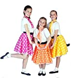 Dance-Troupes-80s-Stage-Rock and Roll SPOTTY JIVE SKIRT & NECK TIE Available in variety of colours and sizes (5-6 years, Pink)