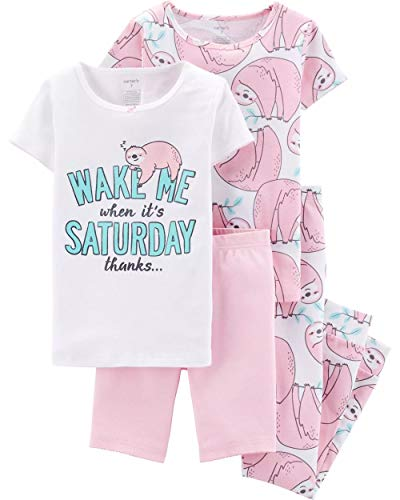 Carter's Big Girls 4-pc. Wake Me Saturday Sloth Pajama Set 7 Light Pink/White/Blue