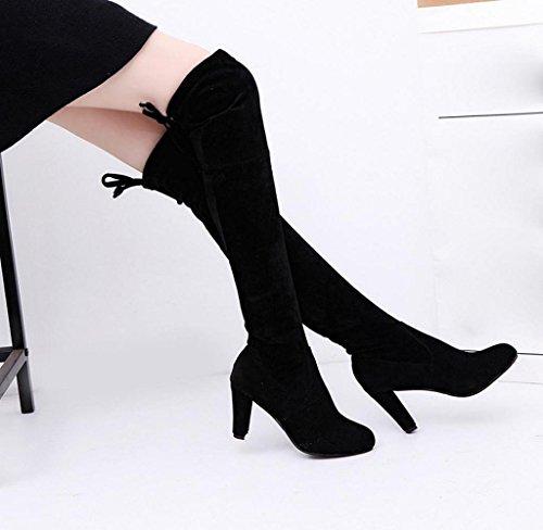 Amcool Damen Stretch über Knie Stiefel Langschaft Stiefel Schwarz