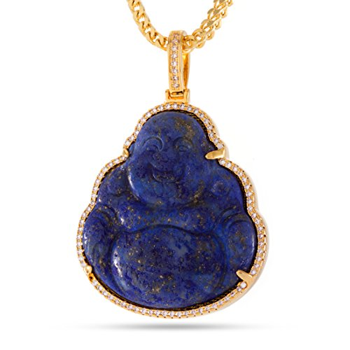 The 14K Gold Plated Buddha Necklace (Lapis) by King Ice