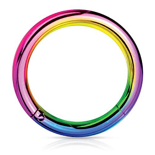 BodyJ4You Piercing Ring Hinged Segment Clicker 12G Hoop 12mm Rainbow Steel Nipple Lobe Lip Conch ()