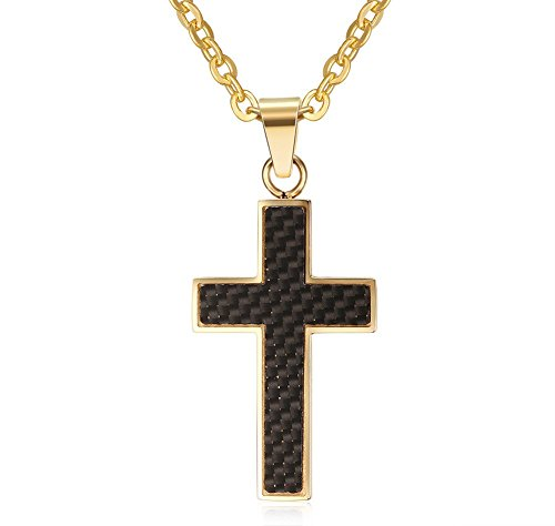 Across Stainless Steel Black Carbon Fiber Cross Pendant Necklace with Chain Gold
