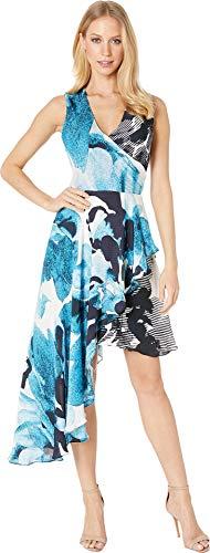 Nicole Miller Women's Watercolor Bloom Asymmetrical Dress Blue Multi 14 ()