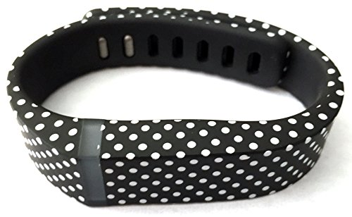 1pc Small S Black with White Dots Spots Replacement Band With Clasp for Fitbit FLEX Only /No tracker/ Wireless Activity Bracelet Sport Wristband Fit Bit Flex Bracelet Sport Arm Band Armband by EastVita