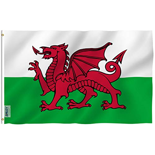 Anley Fly Breeze 3x5 Foot Wales Flag - Vivid Color and UV Fade Resistant - Canvas Header and Double Stitched - Welsh National Flags Polyester with Brass Grommets 3 X 5 Ft ()