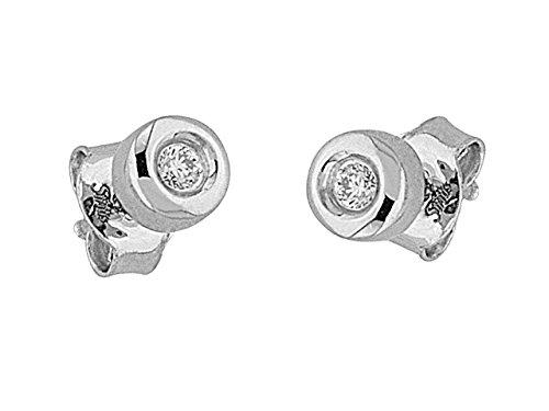 Birgie Diamants et Bijoux - Boucles d'Oreilles Diamants Solitaires 0.08 Carat-Femme- or Blanc 201E0044