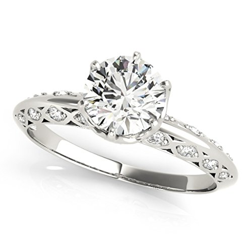 0.75 Ct. Ttw Halo Diamond Engagement Ring 14K White Gold