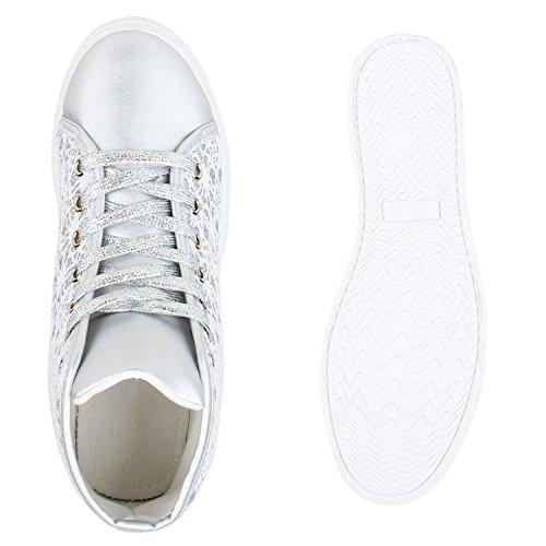 Bequeme Sportliche Damen Glitzer Sneakers High Spitze Flandell Silber