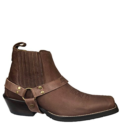 Brunello's Silverado Men's Leather Square Toe Western Boot with Low Cut in Camel (Camel Leather Cowboy Boots)