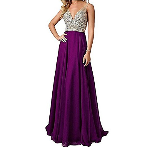 Chiffon V-neck Bridesmaid Dress (Kevins Bridal Deep V-neck Chiffon Bridesmaid Dresses Beaded Long Evening Gowns Grape Size 6)
