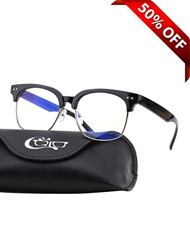 CGID CT44 Premium TR90 Frame Blue Light Blocking Glasses,Anti Glare Fatigue Blocking Headaches Eye Strain,Safety Glasses for Computer/Phone/Tablets,Flexible Unbreakable Frame,Transparnet - Clubmaster Dimensions