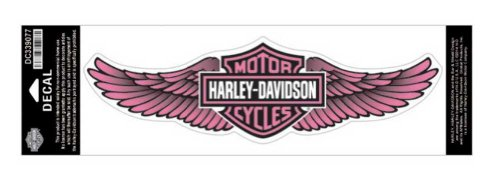 Harley-Davidson Straight Wing Decal Pink 3XL Size Sticker (Harley Davidson Motorcycle Decals)
