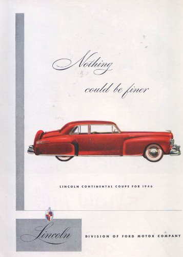(Lincoln Continental Coupe Nothing finer ad)
