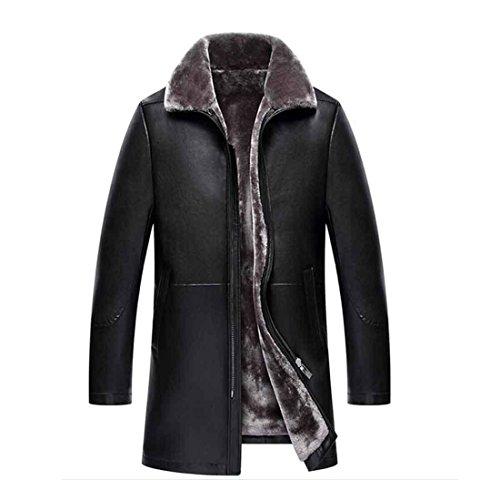 Chaqueta de cuero de los hombres Geniune piel de oveja abrigo de piel de invierno de los hombres Chaqueta de lana de los hombres de negocios abrigo grueso chaqueta de lana , black , xl/180