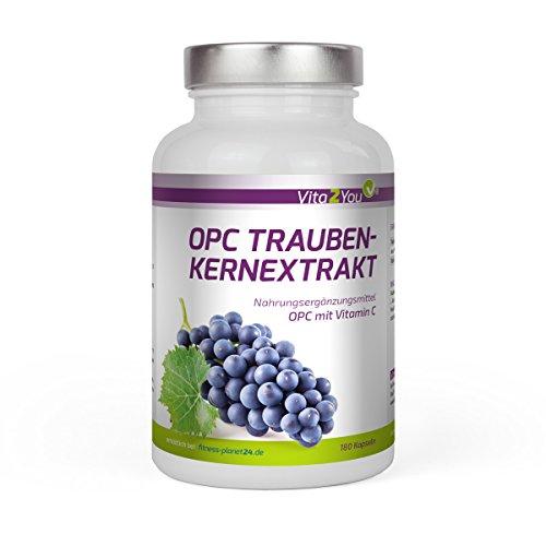 SONDERPREIS OPC Traubenkernextrakt mit Vitamin C - 180 Kapseln - 285mg pro Kapsel reines OPC - Hochdosiert - Premium Qualität - Made in Germany