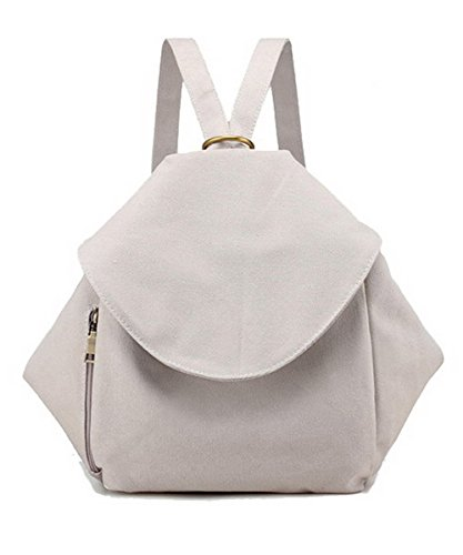 Agoolar Women Shoulder Bags Canvas School Backpacks Daypack Short Trips, Gmxba181381, White Azulacido