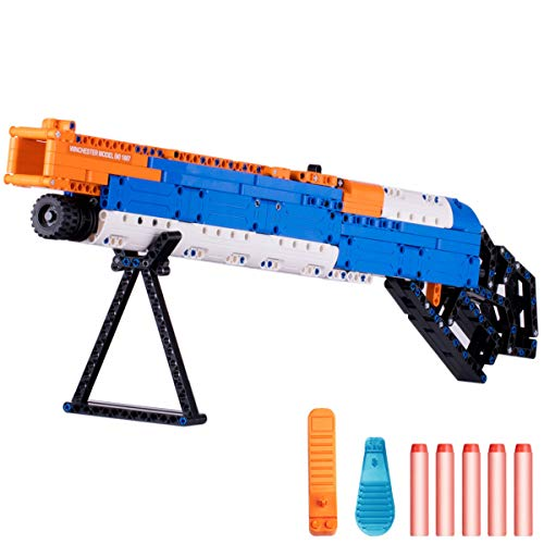 iPlay, iLearn Kids Building Gun Kits, Winchester M1887 Model Blocks Toy Set, Simulated Soft Bullet Shooting Bricks Playset, Gift Collection for Ages 6, 7, 8, 9, 10, 11, 12 Boys Girls Teens Adults