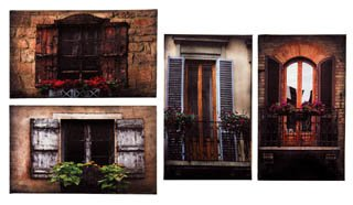 Canvas Prints Wall Art, Wrapped on Stretcher Bars -TUSCAN WINDOWS CANVAS, Set Of 4- Decorative Canvas Art Print -Ready to Hang Wall Decor 6 X 10 X 1, 10 X 6 X 1 Inch by TIMELESS BY DESIGN